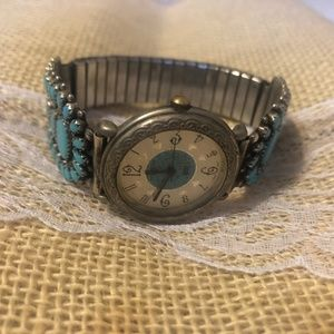 Sterling Silver Watch with Simulated Turquoise